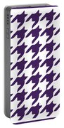 Rounded Houndstooth With Border In Purple Portable Battery Charger