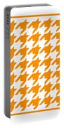Rounded Houndstooth With Border In Tangerine Portable Battery Charger