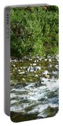 Rounded Rocks In A Rushing River Portable Battery Charger