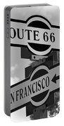 Route 66 Street Sign Black And White Portable Battery Charger