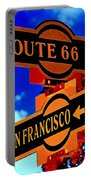 Route 66 Street Sign Stylized Colors Portable Battery Charger