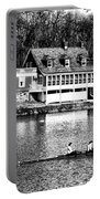 Rowing Past Turtle Rock Light House In Black And White Portable Battery Charger