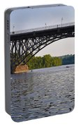 Rowing Under The Strawberry Mansion Bridge Portable Battery Charger