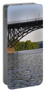 Rowing Under The Strawberry Mansion Bridge Portable Battery Charger by Bill Cannon