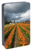 Rows Of Colorful Tulips At Festival Portable Battery Charger