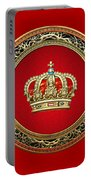 Royal Crown In Gold On Red  Portable Battery Charger