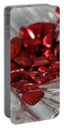 Ruby Red Hearts And Crystal Portable Battery Charger