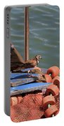 Ruddy Turnstones Perching On Fishing Nets Portable Battery Charger