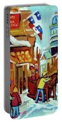 Rue St Paul Montreal Streetscene Cafes And Caleche Portable Battery Charger