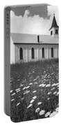 Rural Church In Field Of Daisies Portable Battery Charger