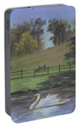 Rural Landscape Painting Of Bauer Farm Portable Battery Charger