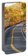 Rural Road Running Along The Maple Trees In Autumn 2 Portable Battery Charger