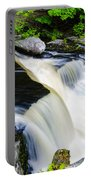 Rushing Water On A Mountain Stream Portable Battery Charger
