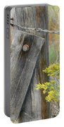 Rustic Fence And Wild Flowers Montana Portable Battery Charger