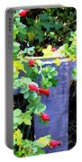 Rustic Fence And Wild Rosehips Portable Battery Charger