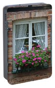 Rustic Window And Red Bricks Wall Portable Battery Charger by Yair Karelic