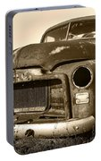 Rusty But Trusty Old Gmc Pickup Truck - Sepia Portable Battery Charger