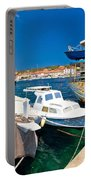 Rusty Fishing Boat In Sali Harbor Portable Battery Charger