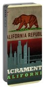 Sacramento City Skyline State Flag Of California Art Poster Series 023 Portable Battery Charger