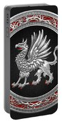 Sacred Silver Griffin On Black Leather Portable Battery Charger