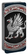 Sacred Silver Griffin On Blue Leather Portable Battery Charger
