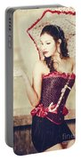 Sad French Pin-up Woman. Loss In The City Of Love Portable Battery Charger