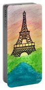 Saffron Sunset Over Eiffel Tower In Paris-watercolour  Portable Battery Charger
