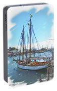 Sailboat Docked In Camden Portable Battery Charger