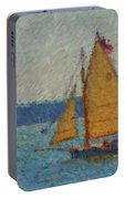 Sailing At Spruce Point Boothbay Harbor Maine Portable Battery Charger