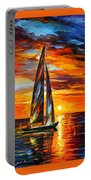Sailing With The Sun - Palette Knife Oil Painting On Canvas By Leonid Afremov Portable Battery Charger
