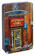 Saint Henri Street In Winter Portable Battery Charger