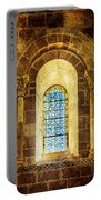 Saint Isidore - Romanesque Window With Stained Glass - Vintage Version Portable Battery Charger