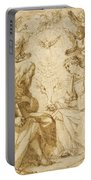 Saint Paul And Saint Stephen Crowned By Angels Portable Battery Charger