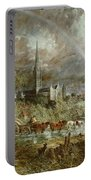 Salisbury Cathedral From The Meadows Portable Battery Charger by John Constable
