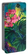 Salmon Pink Geraniums Portable Battery Charger