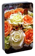 Salmon Rose Bouquet Portable Battery Charger
