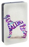 Saluki Dog Watercolor Painting / Typographic Art Portable Battery Charger
