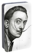Salvador Dali Portrait Black And White Watercolor Portable Battery Charger