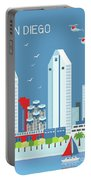 San Diego California Vertical Skyline Portable Battery Charger