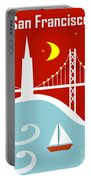 San Francisco California Vertical Scene - East Bay Bridge And Boat Portable Battery Charger
