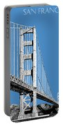San Francisco Skyline Golden Gate Bridge 2 - Slate Blue Portable Battery Charger