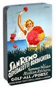 San Remo, Italian Riviera, Girl With Flowers Portable Battery Charger