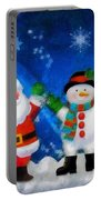 Santa And Frosty Painting Image With Canvased Texture Portable Battery Charger