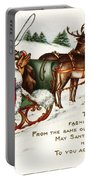Santa And His Reindeer Greetings Merry Christmas Portable Battery Charger