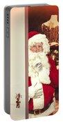 Santa Claus At Open Christmas Door Portable Battery Charger