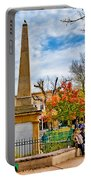 Santa Fe Obelisk A Pigeon And An Accordian Player Portable Battery Charger
