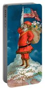 Santa Standing On The Globe Portable Battery Charger