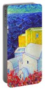 Santorini Oia Colors Modern Impressionist Impasto Palette Knife Oil Painting By Ana Maria Edulescu Portable Battery Charger