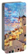Santorini Windmill At Oia Digital Painting Portable Battery Charger
