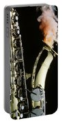 Saxophone With Smoke Portable Battery Charger by Garry Gay